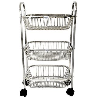 Amol Silver Stainless Steel Kitchen Trolley