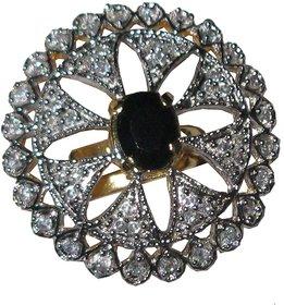AARZOOL Flowery Pattern beautiful American Diamonds adjustable Ring