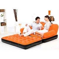BestWay Branded Premium Velvet Inflatable 5 in 1 Sofa Bed Best Way Orange