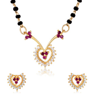 Mahi Gold Plated Wedlock Mangalsutra Set with CZ for Women NL1103518G