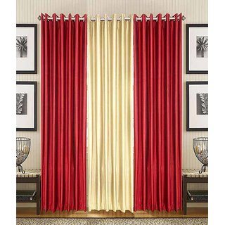 Ech oly Cream and Red Plain Curtain set of 3(4X9)