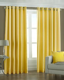 Geo Nature DESIGN HOME Eyelet yellow door curtains set of 2 (C1R002)
