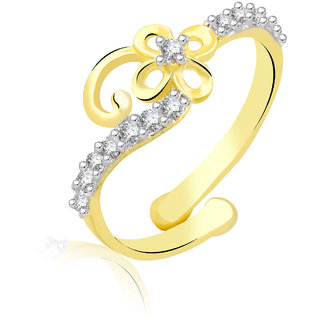 Jewelscart.In Adjustable  Flower Diamonds Gold Plated Finger Ring JC01000775