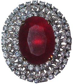 AARZOOL AD Red colour stone statement ring