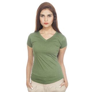 Tsg Breeze Womens Plain V Neck T Shirt Olive Green Colour In