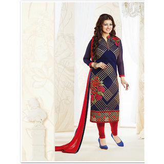 Thankar Navy Blue And Multi Embroidered Georgette Straight Suit