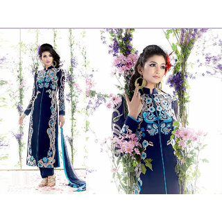 Bohra Blue Georgette Deisgner Embroidered Dress Material