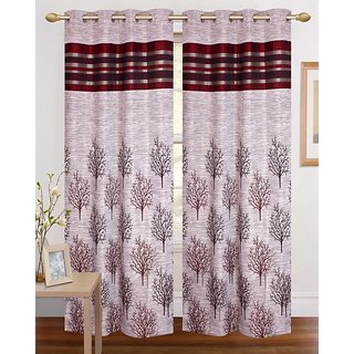 Crusty Contemopary Superior Fancy Maroon Jaqguard Door curtain (Pack of 2)