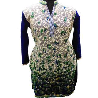 blue floral woollen kurti