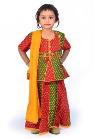 Little India Rajasthani Red Green Booti Work Lehenga Kurti Set