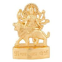 Gold Plated Durga Mata Idol - Suitable For Car Or Home