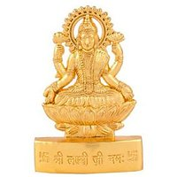 Gold Plated Laxmiji Idol - Suitable For Car Or Home