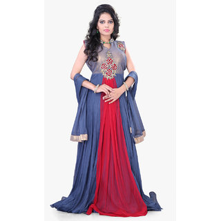 Surat Tex Grey Color Traditional Wear Hand Embroidered Net  Velvet Stitched Gow