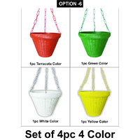 Plastic Hanging Planter Set Of 4Pcs Multy Colors