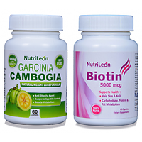 NutriLeon Garcinia Cambogia 500mg + NutriLeon Biotin 5000 Mcg 60 Capsules