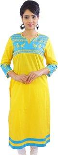 Shop Rajasthan Self Design Yellow, Light Blue 3/4 Sleeve Women's Cotton Kurti (SRE2215)