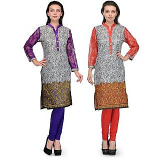 Sukuma Multicolored Printed Designer Kurti Combo of 2 KRT6012-GryPrpl-GryRed