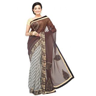 Sanwara Fashions Multicolor Chanderi Plain Saree With Blouse