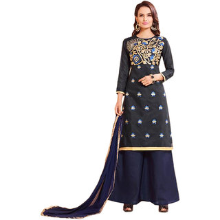 36f3f30231 Buy Fusion Ethnic Black Cambric Cotton Semi-Stitched Salwar Suit for ...