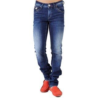 Seventh Sin Men's Solid Regular Fit Blue Jeans