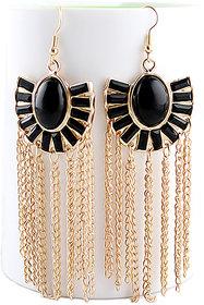 Roopa Vani Jewel Touch Fashion Statement Black Gemstone and Gold Tassel Dangler Earrings