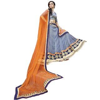 Surat Tex Light Blue Color Bridal Embroidered Net Lehenga Choli With Brocket Blo