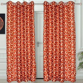 Story@Home Orange Polyster Door Curtain Nature 2 Pc Door Curtain Dnr2023