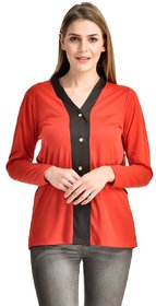 Klick2Style Dual Color Full Sleeve Button TOP-2044-Blk-Red