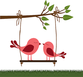 Asmi Collections PVC Wall Stickers Beautiful Swinging Birds on Branches