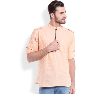 Svanik MenS Casual Short Kurta  With Zipper
