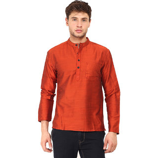 Svanik Orange Polyester Blend Short Kurta