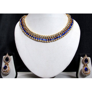 Dark blue pearl gota neckalace set