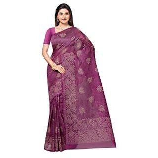 Fabdeal Purple Colored Cotton Printed Saree (VIYSR1021MR)