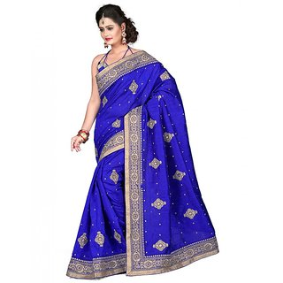 SuratTex Blue Silk Embroidered Saree With Blouse