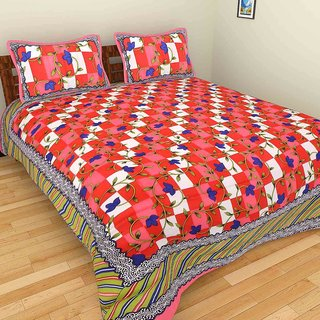 GRJ India Pure Cotton Chackered Print Double BedSheet With 2 Pillow Covers