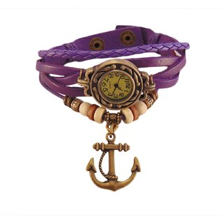 Stylish  Watch Purple Bracelet With Anchor charm for Girls