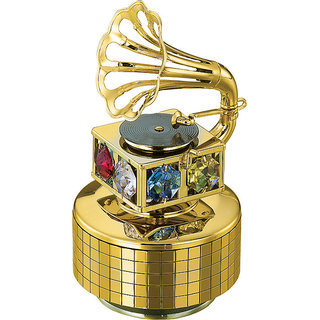 24k Gold Plated Gifts Musical Base with Gramophone