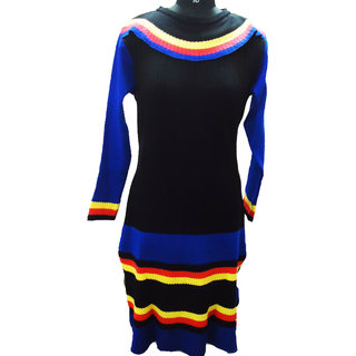 Black multi color woollen kurti