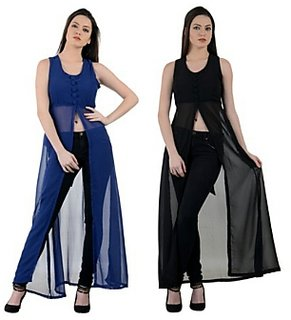 Raabta Black And Blue Maxi Dress With Front Slit (Combo Of 2)