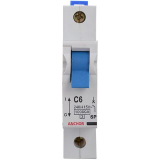 Anchor 18083 1 Pole Gold Series C06 Mcb 6 Amp White (Pack Of 2 )