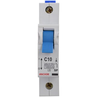 Anchor 18094 1 Pole Gold Series C06 Mcb 10 Amp (Pack Of 2 )