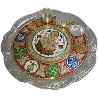 Artistic German Silver Plated Subh Labh Arti Thali Set