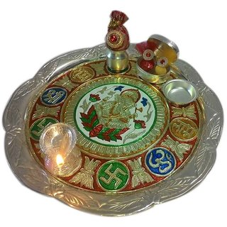 Provocative German Silver Plated Subh Labh Thali Set
