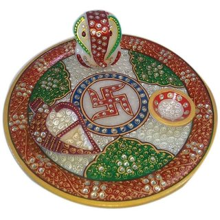 Rajasthan Kundan HCrafted Marble Puja Thali  Idol Ganesha Bowl Diya