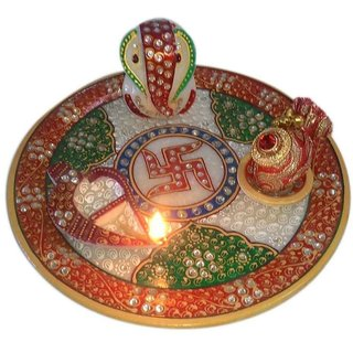 Magnificent Marble Puja Thali Set