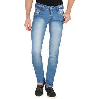 Sodium Light Blue Cotton Denim Slim Fit Jeans for Men