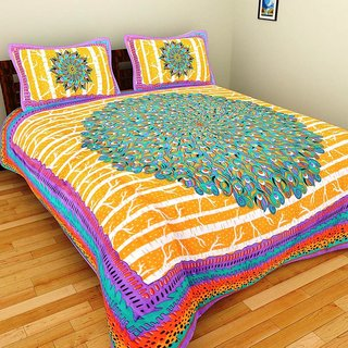 GRJ India Abstract Print Pure Cotton Double BedSheet With 2 Pillow Covers