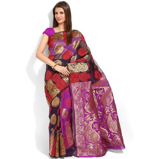 Lookslady Pink Silk Printed Saree With Blouse