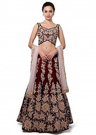 Bridal Wedding Lehengas Wine lehenga enhanced in stone and zari embroidery