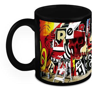 Homesogood Scary Red  Art Black Ceramic Coffee Mug - 325 Ml